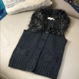 LOFT faux fur knitted vest